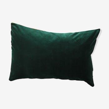 Coussin vert et or en velours d'ameublement d'éditeur 30 x 50 cm