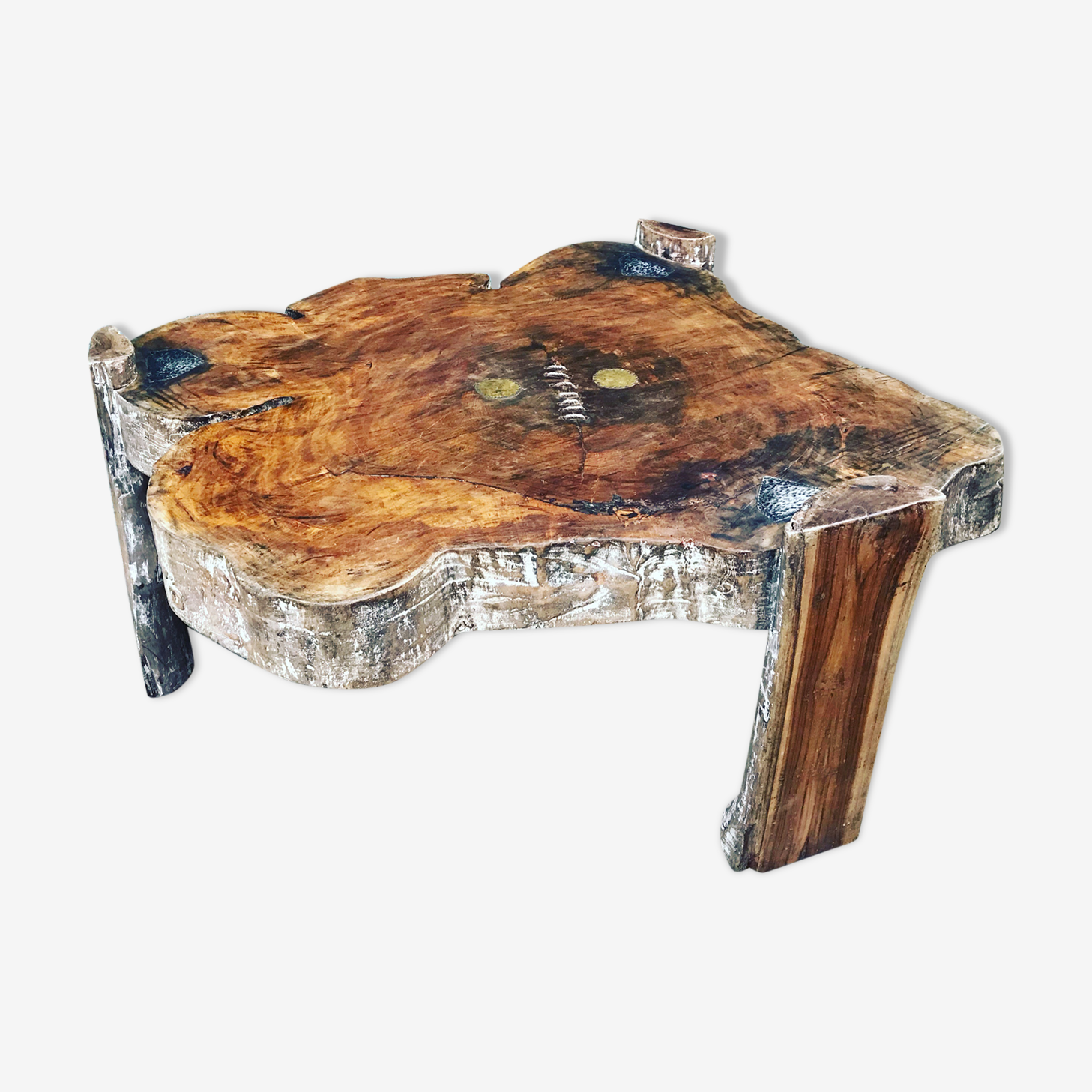 Table basse tronc d'arbre exotique
