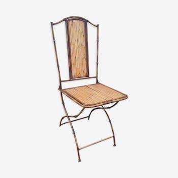 Chaise métal façon bambou