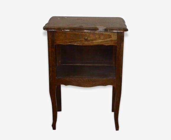 chevet en bois vernis ancien pieds galb s bois mat riau marron classique 41264. Black Bedroom Furniture Sets. Home Design Ideas
