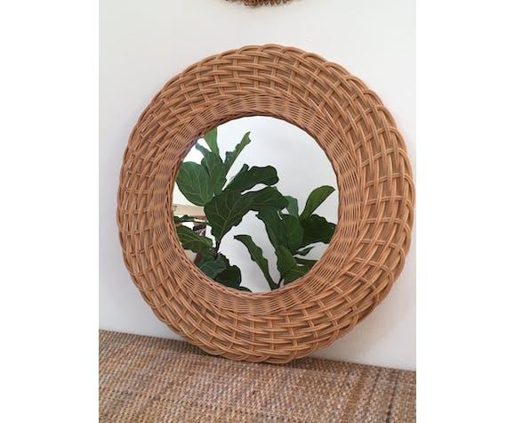 Miroir en rotin osier vintage 43cm