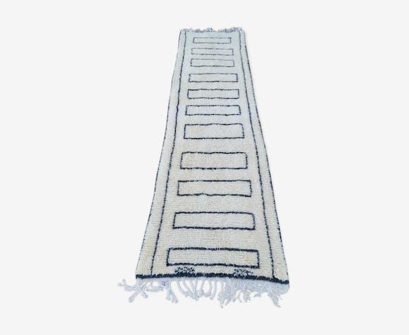 Tapis Beni Ouarain Couloir En Laine Fait Main 85x320 Cm Laine
