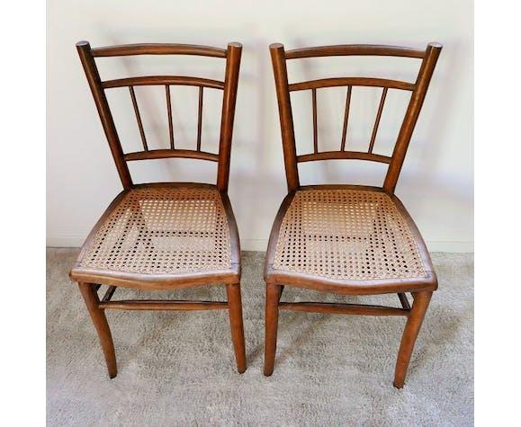 Paire de chaises cannées