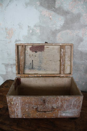 Vintage wooden painter's toolbox