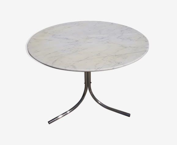 Table ronde marbre et chromé années 70