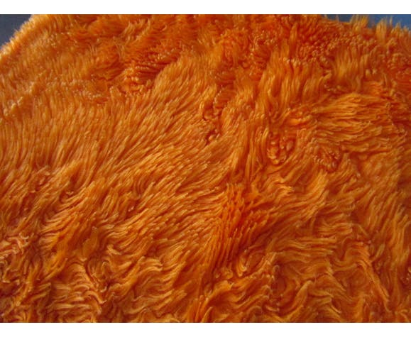 Tapis moumoute orange vintage des années 70