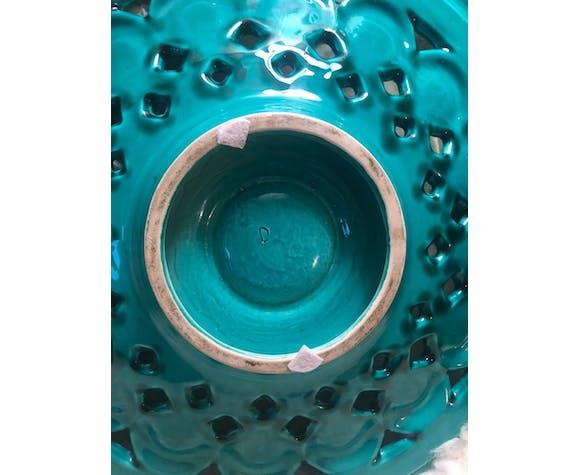 Coupe en céramique ajourée  et émaillée vert émeraude. Vintage très bon état.