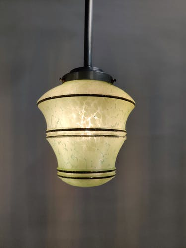 Green and gold art deco pendant light with crackle glass, 1930's