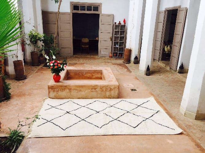 Beni Ourain rug white black geometric patterns 227 x 168 cm