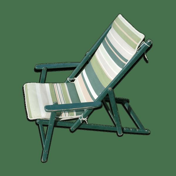Transat Chaise Longue Tissu Et Bois Pliant