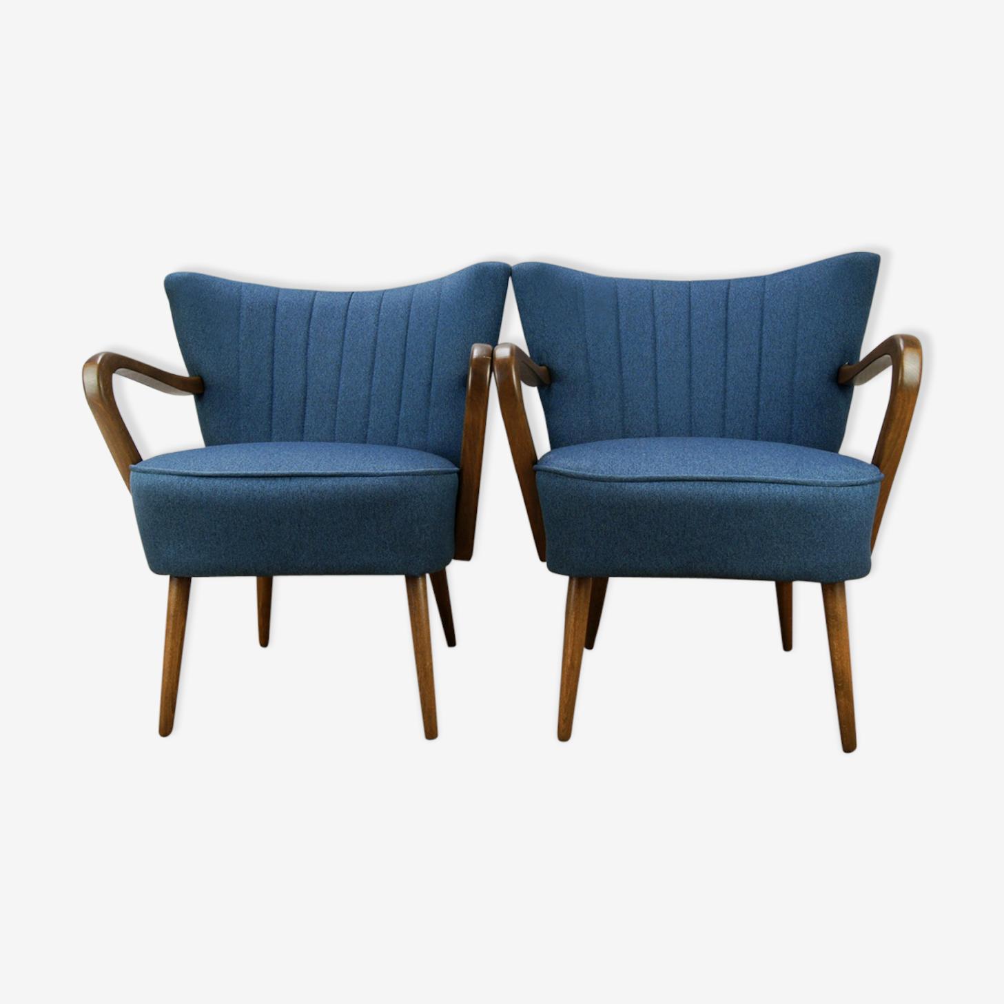 Paire de  fauteuils cocktail bleus, 1950