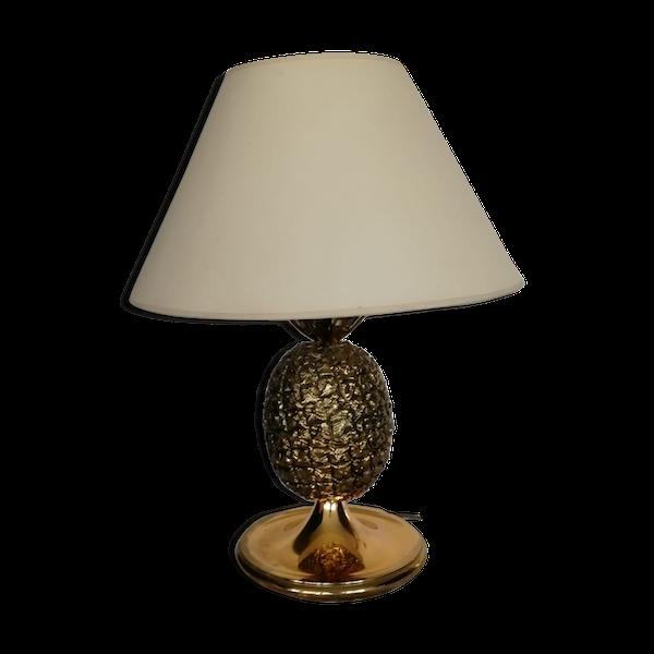 Lampe de table ananas années 70 en laiton