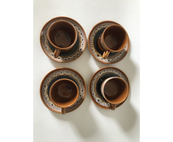 4 tasses à café faïence Sarreguemines modèle Hawaï