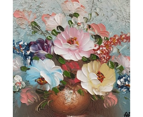 Multicolored bouquet table