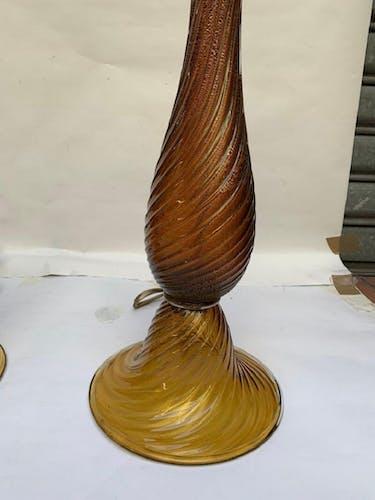 "Paire de lampes en verre de Murano signé ""Toso"""