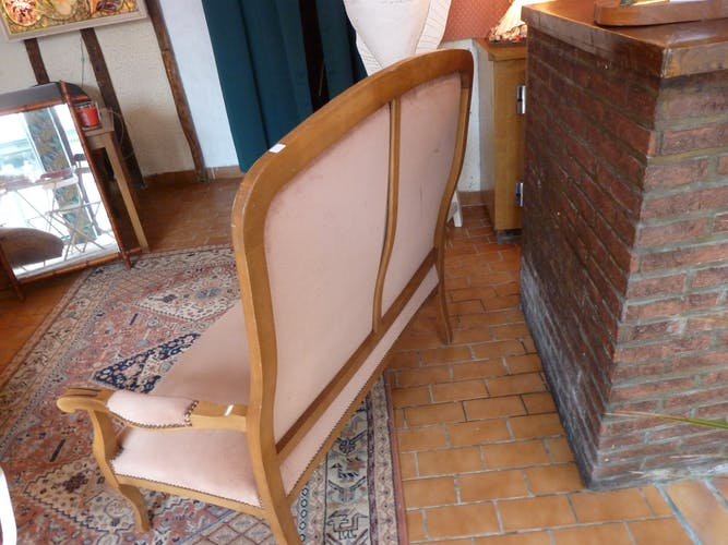 Canapé banquette 2 places bois et velours rose