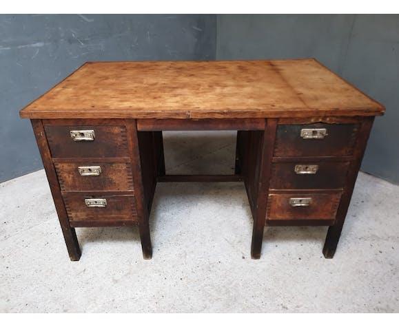 Bureau en chêne vintage avec 6 tiroirs