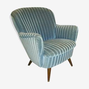 Fauteuil club organique années 50 60 design italien bleu gris