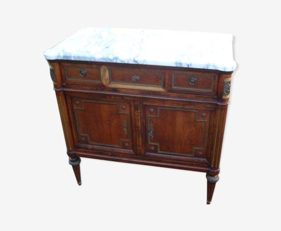Buffet bas en bois massif deux portes et un tiroir  plateau en marbre