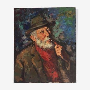 Portrait d'homme à la pipe par Marc Rebierre
