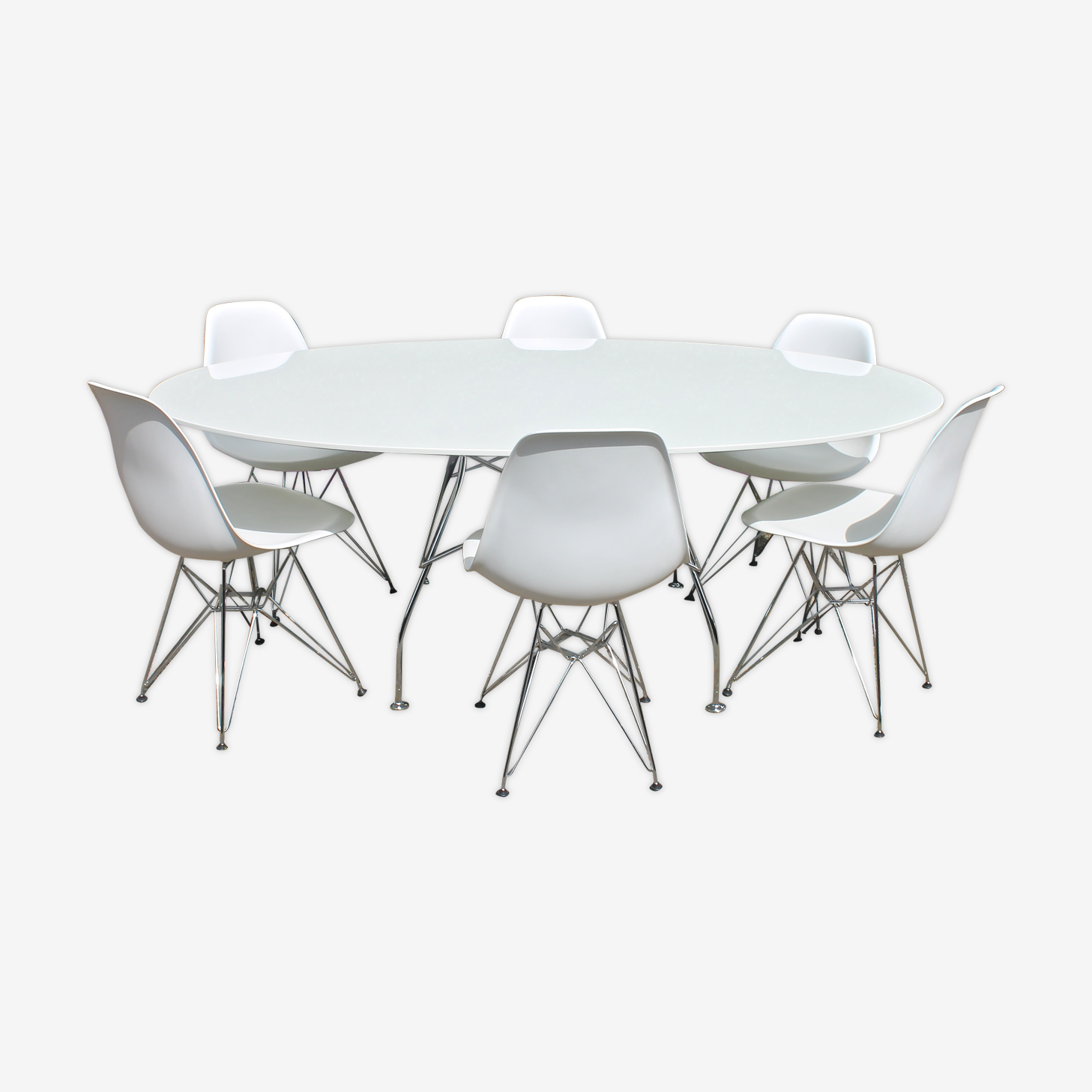 Set of 6 chairs DSR Eames Vitra edition and Kartell table by Antonio Citterio