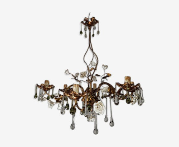 Gold Plate Flowers Drops White Porcelain Chandelier Glass Metal