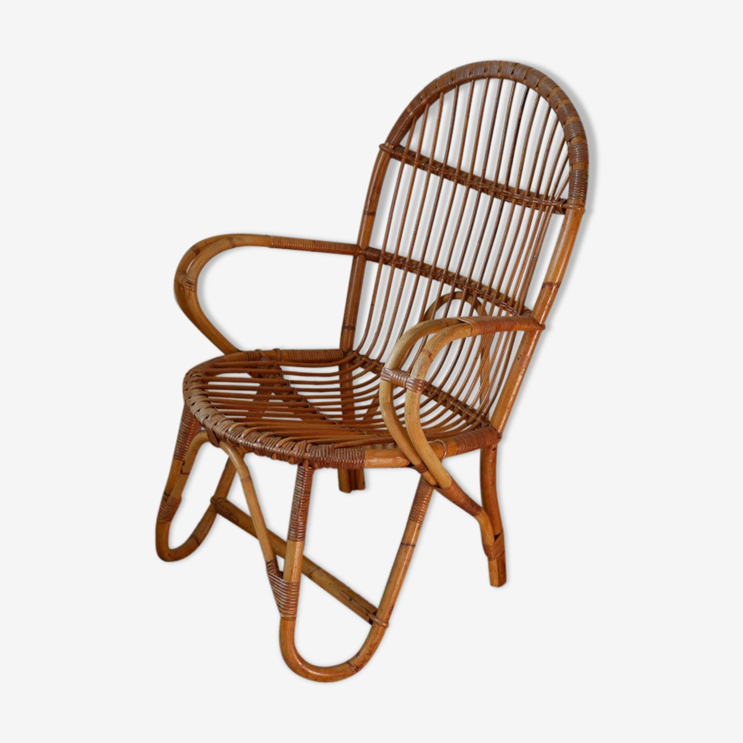 Armchair in rattan of the 1960s