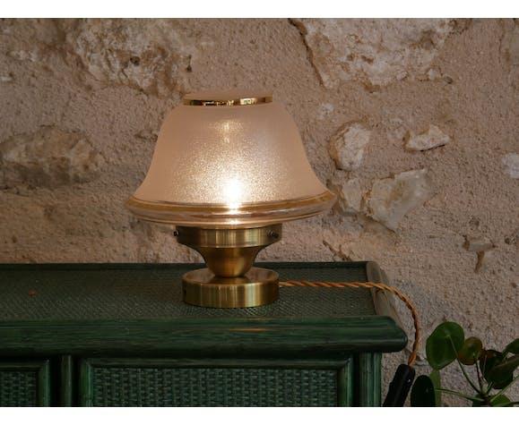 Lampe avec globe granité type art déco