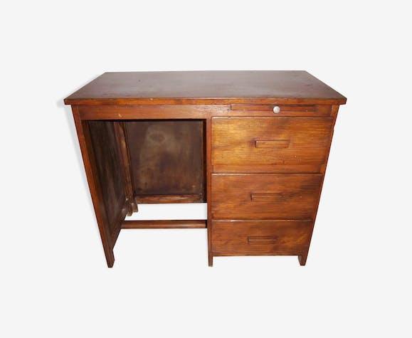 Bureau art déco 1940 50 en bois plein bois matériau marron
