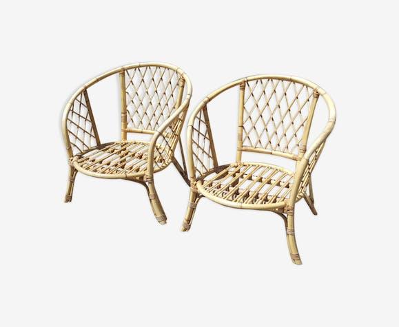 Paire de fauteuils bambou et rotin, vintage, années 60