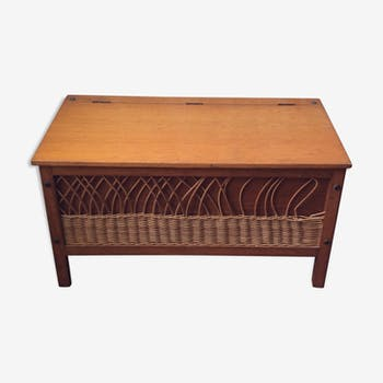 Vintage toy box wood and rattan