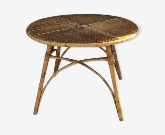 Table basse en rotin années 60