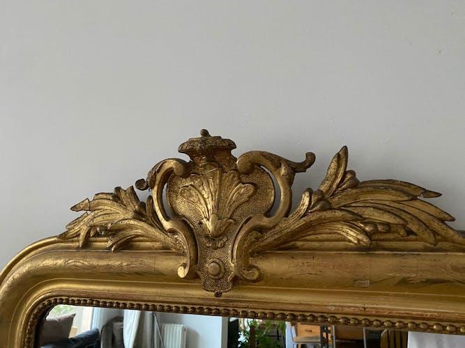 Miroir doré Louis Philippe à fronton - 145x76cm
