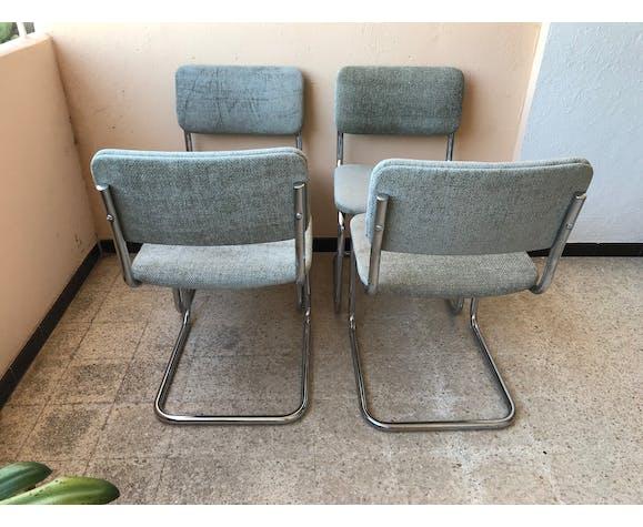 Série de 4 chaises seventies en tube chromé et velours chenille