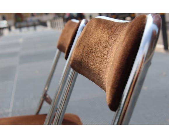 Ensemble italien de chaises pliantes de deux années 1970
