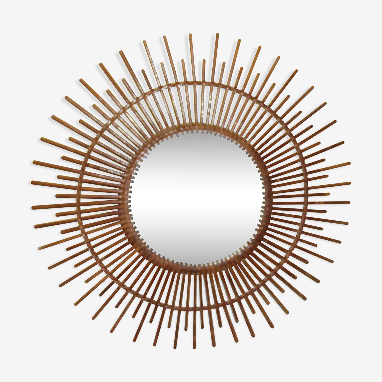 Miroir soleil en rotin vintage 70cm