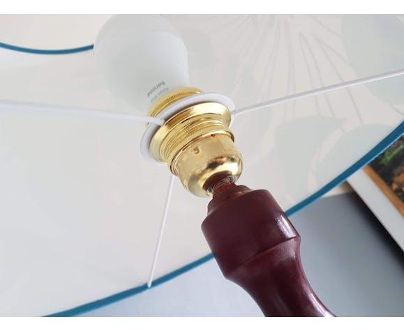 Lampe vintage avec abat jour jungle et pied tourné | Selency