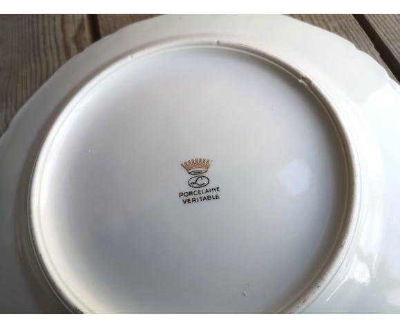 Ensemble de 6 assiettes en porcelaine décor Poissons avec liseré doré