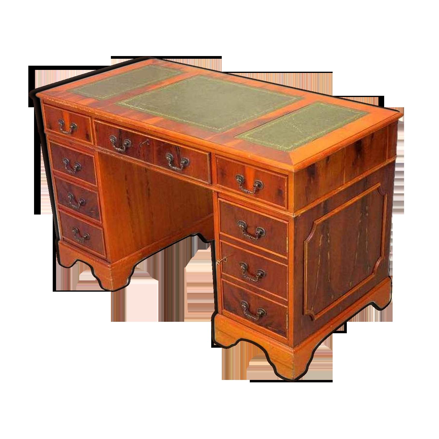 Bureau à deux piéds avec dessus en cuir vert bois matériau
