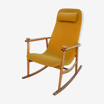 Danish Chair rocking 50s/60s yellow orange