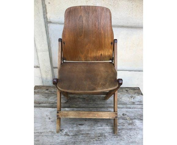 Chaise pliante années 40 en bois métal assise vintage