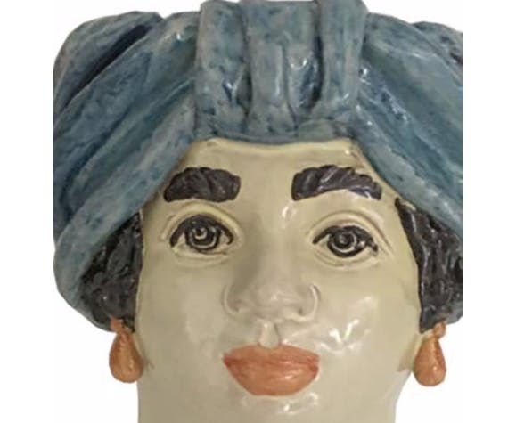 Vase tête moyenne bleu ciel