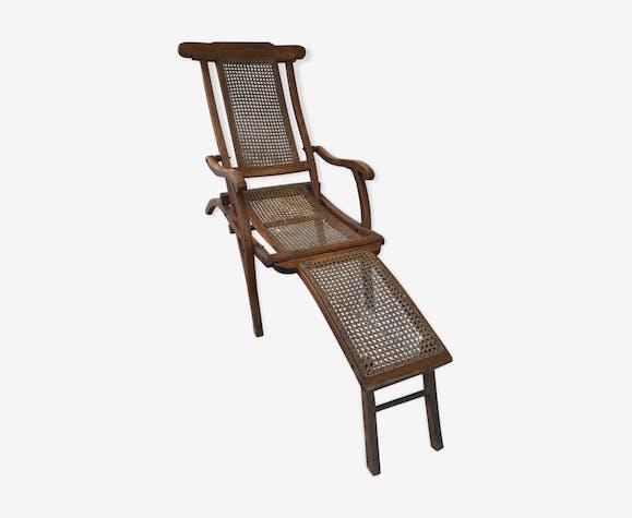 Chaise longue ancienne acajou cannage