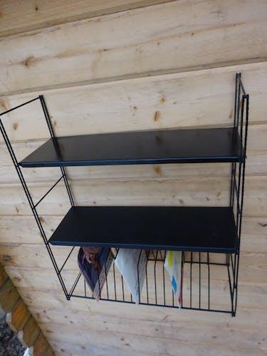 Vintage string metal wall shelf