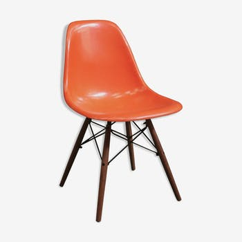 "Chair Eames DSW ""red"" orange Herman Miller 1970 edition"
