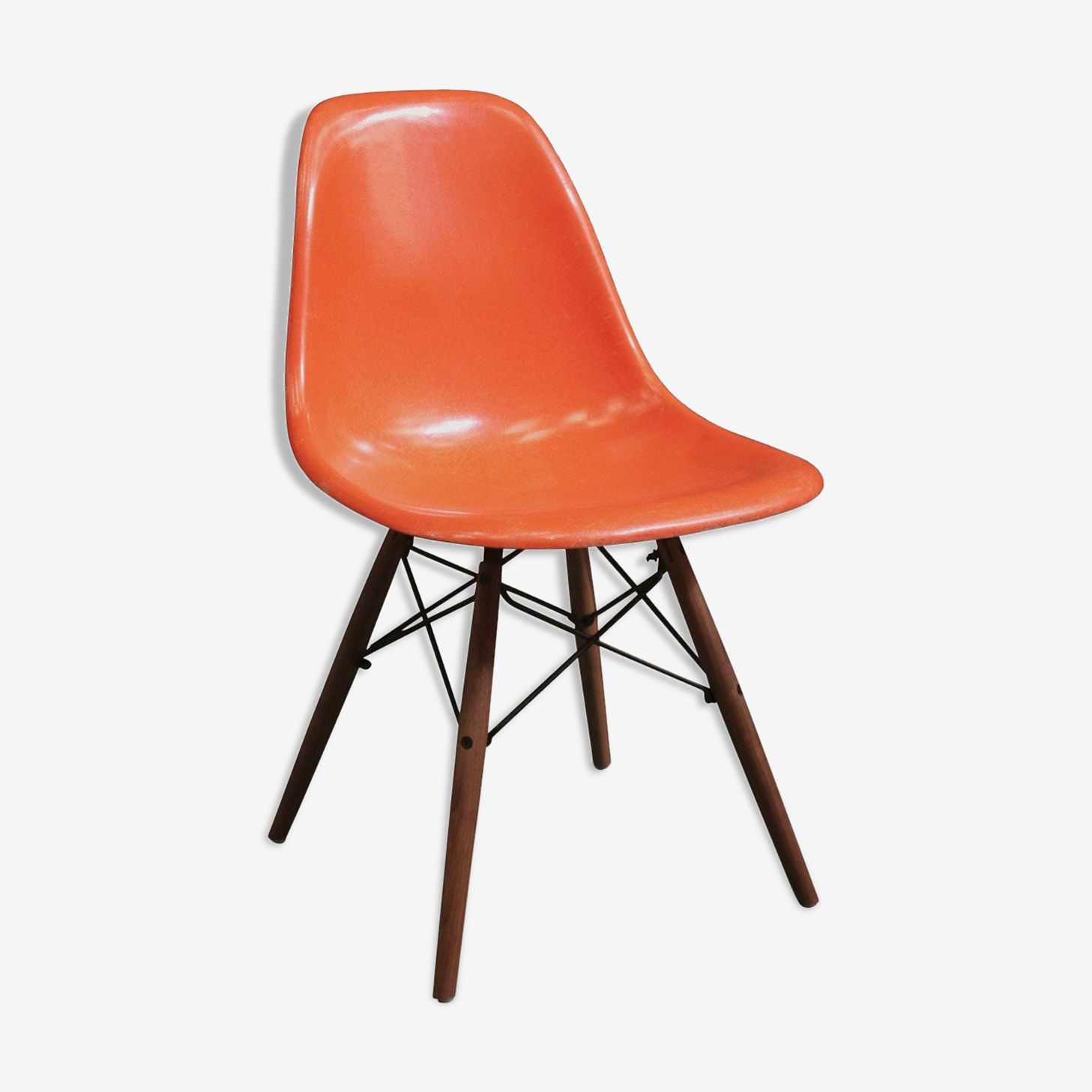 "Chaise Eames DSW ""red orange"" édition Herman Miller 1970"