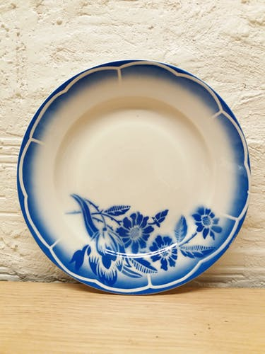 Paire assiettes plates fleurs bleues