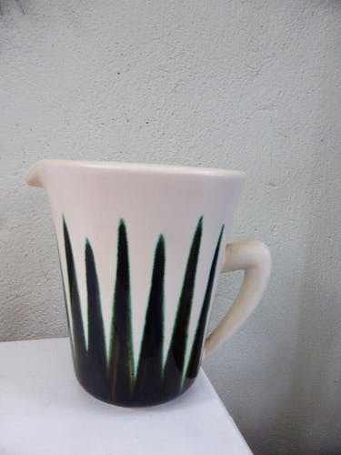 Pichet en céramique beige, effet plantes vertes et noires, vintage 1960