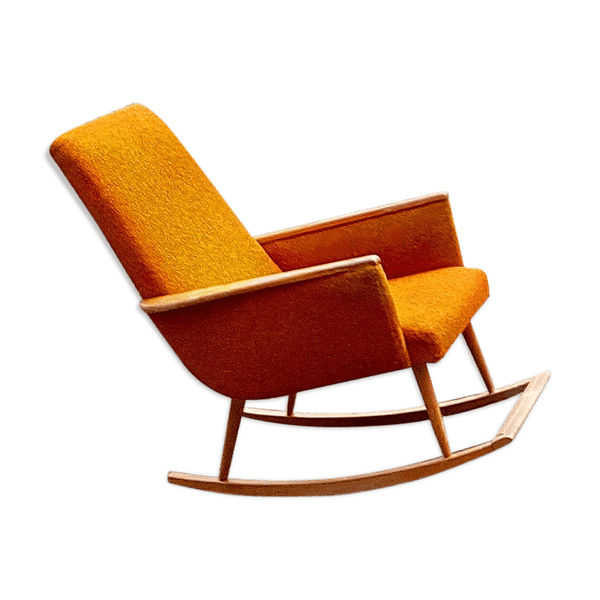 rocking chair scandinave ann es 50 60 orange tissu. Black Bedroom Furniture Sets. Home Design Ideas