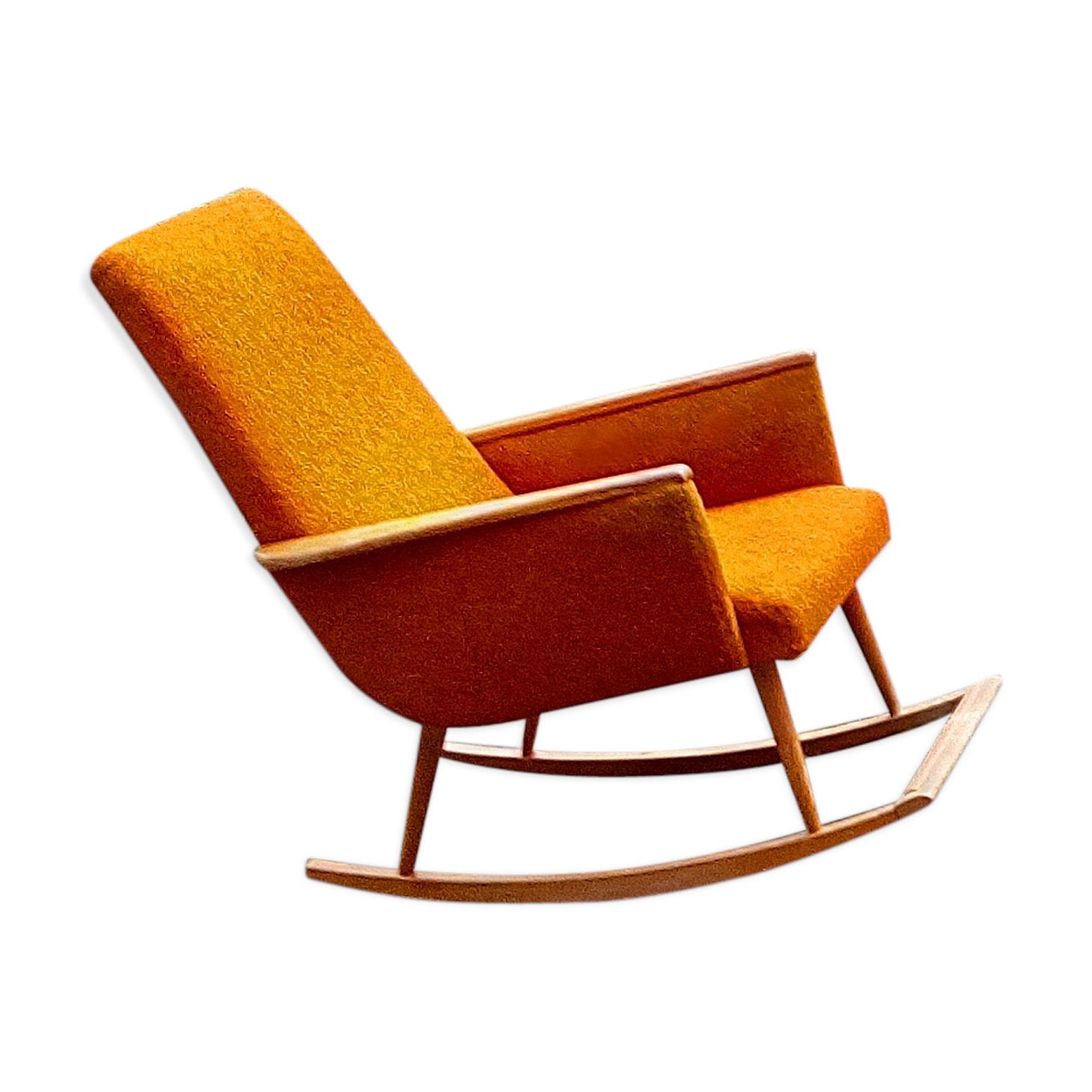 Rocking chair scandinave années 50-60 orange